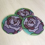 Для дома и интерьера handmade. Livemaster - original item Glass coaster set. Roses. Handmade.