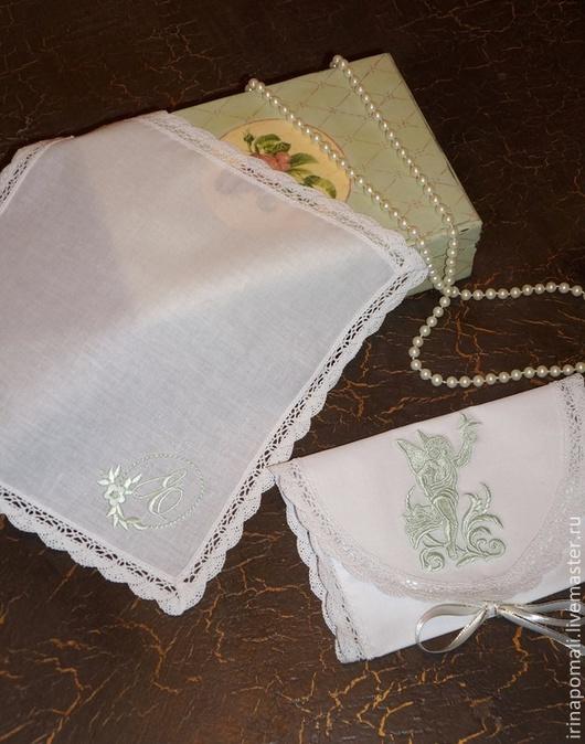 """Персональные подарки ручной работы. Ярмарка Мастеров - ручная работа. Купить Подарок """" Именной""""-конверт и платочек. Handmade. Белый"""
