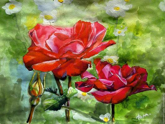 Картины цветов ручной работы. Ярмарка Мастеров - ручная работа. Купить Испанская роза. Handmade. Картина в подарок, картина с цветами