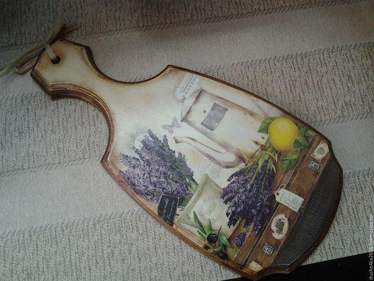 Кухня ручной работы. Ярмарка Мастеров - ручная работа. Купить Доска березовая Лаванда и лимон. Handmade. Бледно-сиреневый, лаванда