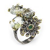 Украшения ручной работы. Ярмарка Мастеров - ручная работа кольцо Изумрудный цветок. Handmade.