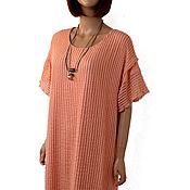 Одежда handmade. Livemaster - original item Elegant tunic dress made of knitwear and mesh cotton. Handmade.