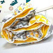Одеяла ручной работы. Ярмарка Мастеров - ручная работа Серо-желтое стильное бомбон одеяло. Handmade.