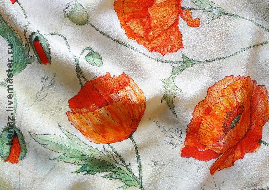 Scarf batik silk 'Poppies', Shawls1, St. Petersburg,  Фото №1