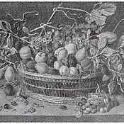 """Картины и панно ручной работы. Ярмарка Мастеров - ручная работа Картина """"Натюрморт с фруктами"""" литография. Handmade."""