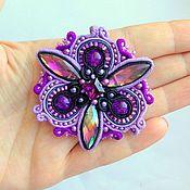 Украшения handmade. Livemaster - original item Brooch lilac  butterfly embroidered Shibori silk ribbon,crypearls. Handmade.