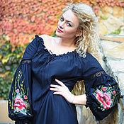 """Одежда handmade. Livemaster - original item Вышитая черная блуза, женская вышиванка """"Дух старины"""". Handmade."""