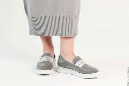 """Обувь ручной работы. Ярмарка Мастеров - ручная работа. Купить SALE! Лоферы """"Хром"""". Handmade. Серый, кожа натуральная"""