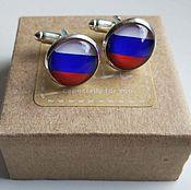Украшения handmade. Livemaster - original item Cufflinks silver plated Russian flag. Handmade.