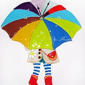 """Для дома и интерьера ручной работы. Ярмарка Мастеров - ручная работа Часы фьюзинг """"Девочка под зонтиком"""". Handmade."""