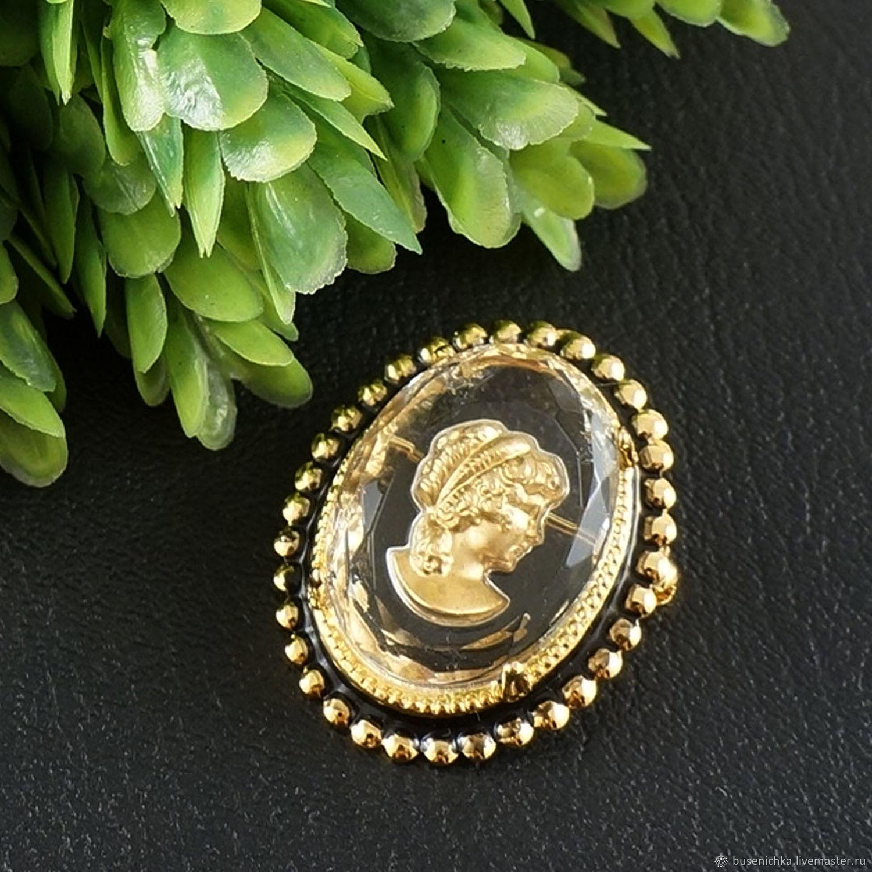 Брошь Инталия Дама кристальная золотистая, винтажное стекло, Брошь-булавка, Москва,  Фото №1