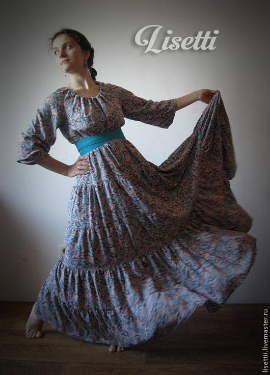 Платья ручной работы. Ярмарка Мастеров - ручная работа. Купить Длинное платье Лазурь. Handmade. Бирюзовый, штапель