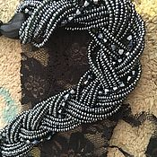 Украшения handmade. Livemaster - original item Multi-row necklace of black beads and crystals. Handmade.