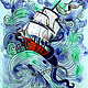 """Футболки, майки ручной работы. Ярмарка Мастеров - ручная работа. Купить Майка """"Кракен"""". Handmade. Корабль, шторм, фентези"""