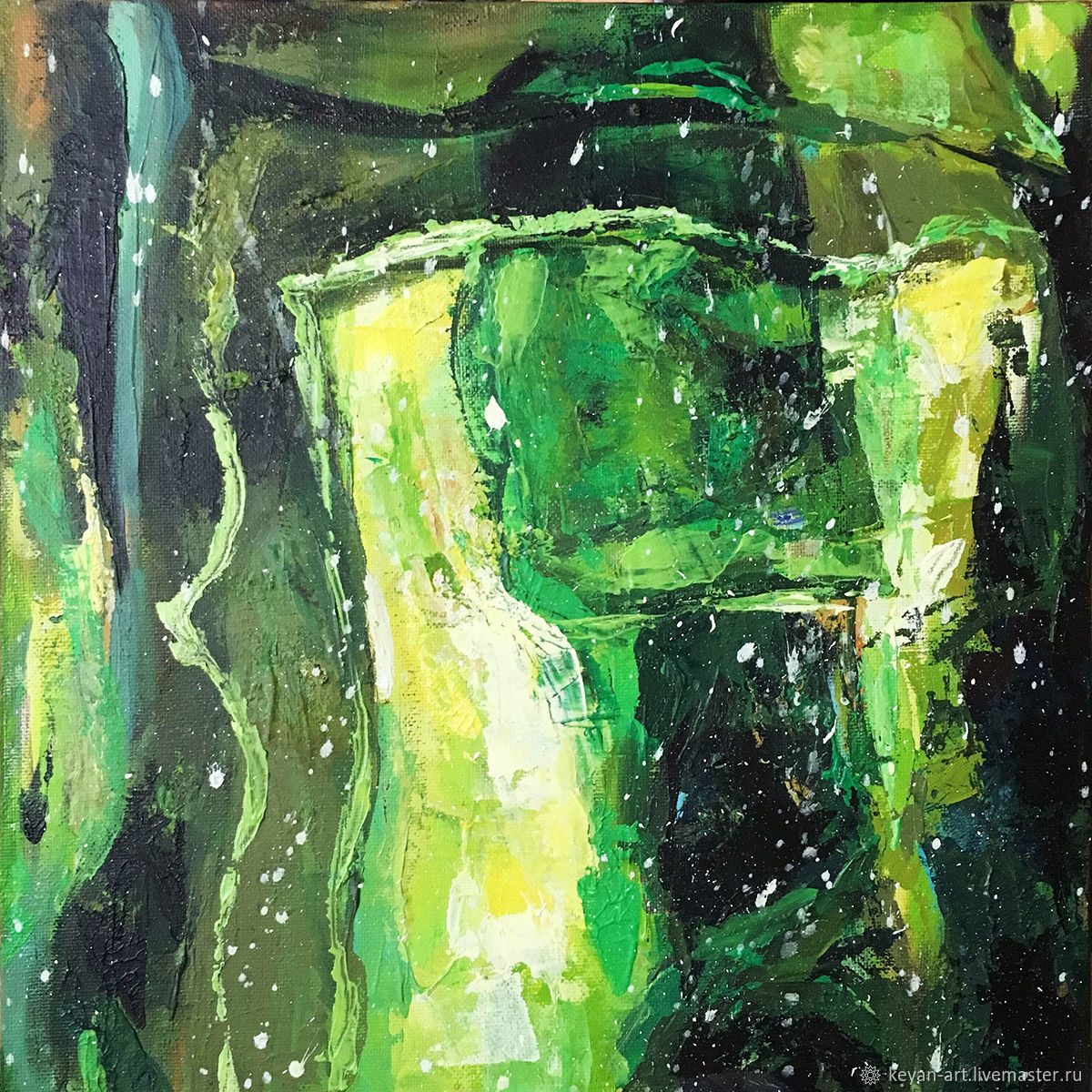 Small green and yellow abstract palette knife. Painting ' Green dragon, Pictures, Moscow,  Фото №1