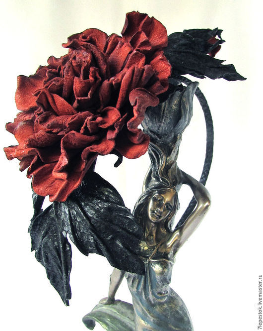 Ободок для волос Терракотовая роза. Цветы из кожи. Елена (7 Lepestok).  Ярмарка мастеров.