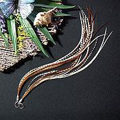 Украшения ручной работы. Ярмарка Мастеров - ручная работа Нежный луч солнца -бежевые длинные серьги с перьями в стиле бохо. Handmade.