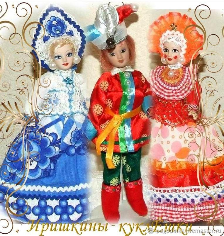Русские куклы - Гжель, Петрушка и Дымковская барышня, Мягкие игрушки, Чебоксары,  Фото №1
