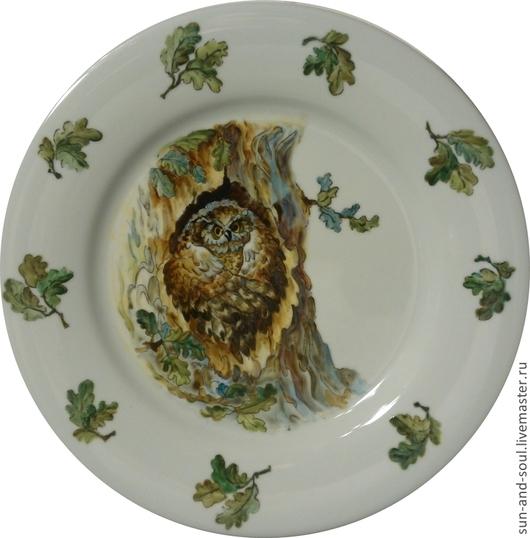 """Декоративная посуда ручной работы. Ярмарка Мастеров - ручная работа. Купить """"Сова в дупле"""". Handmade. Зеленый, тарелка, тарелка керамическая"""