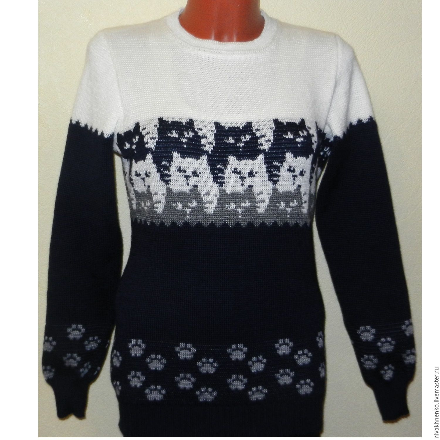Sweater knit Soft paws ornament Cat, Sweaters, Moscow,  Фото №1