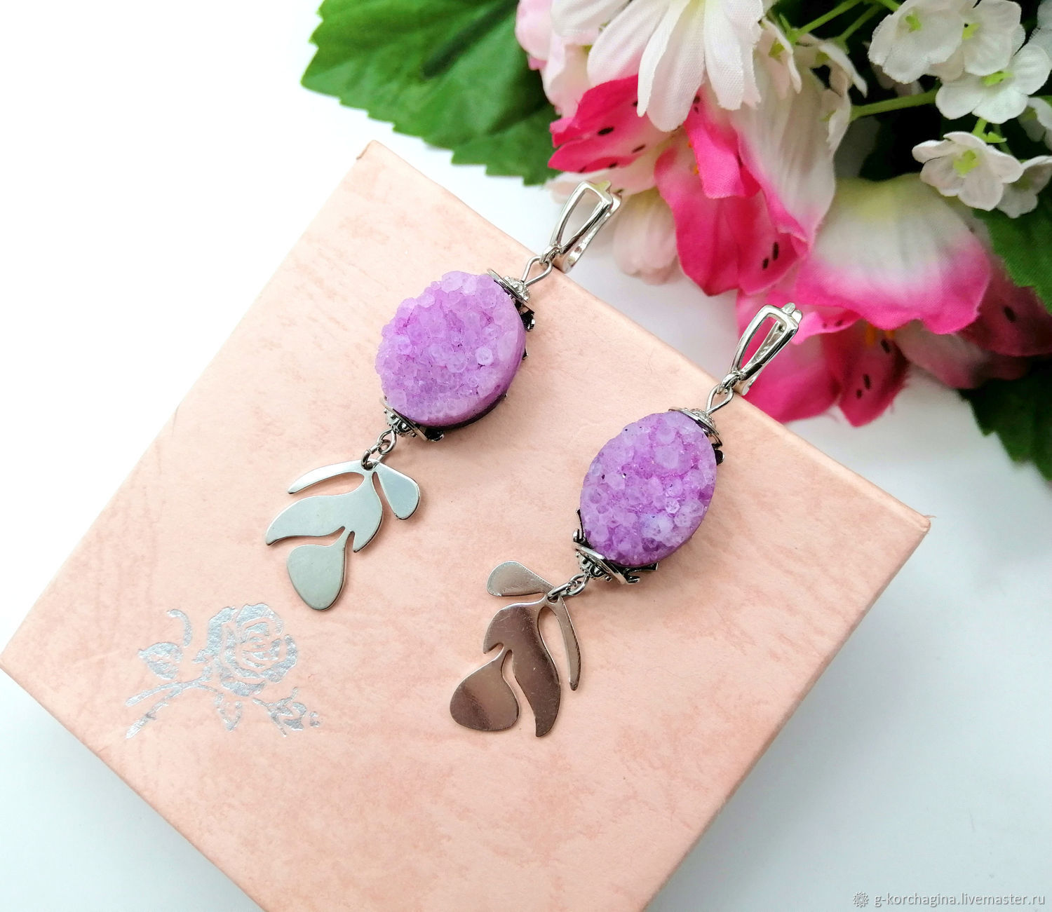 Large earrings with lilac quartz druses, Earrings, Voronezh,  Фото №1