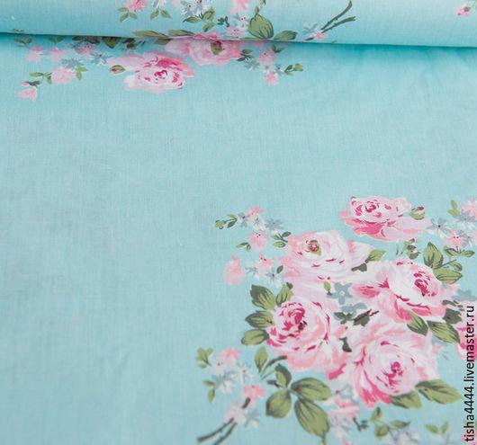 """Шитье ручной работы. Ярмарка Мастеров - ручная работа. Купить Ткань """"розы на голубом"""". Handmade. Ткань, 100% хлопок"""