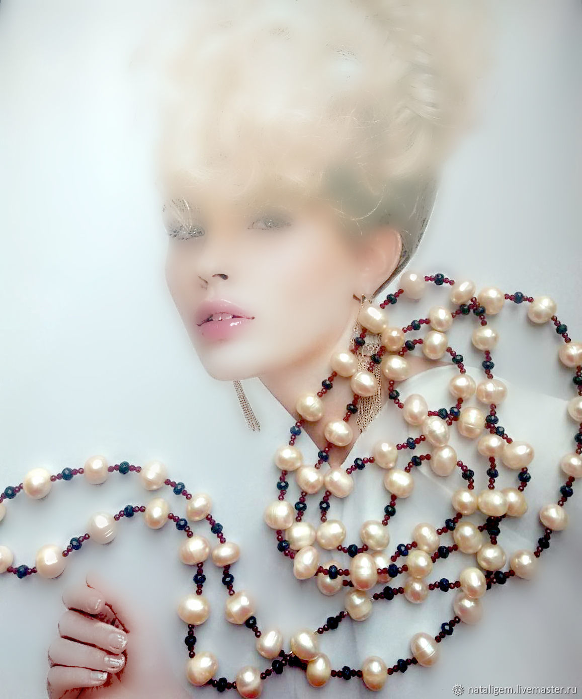 Beads from natural pearls and natural Indian stones of Bohemia, Necklace, Tuchkovo,  Фото №1