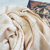 Аксессуары handmade. Livemaster - original item Scarves: Beige and gold knitted - linen blend base scarf. Handmade.