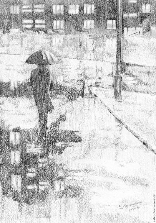 Город ручной работы. Ярмарка Мастеров - ручная работа. Купить Дождь. Handmade. Черный, графика, рисунок, городской пейзаж