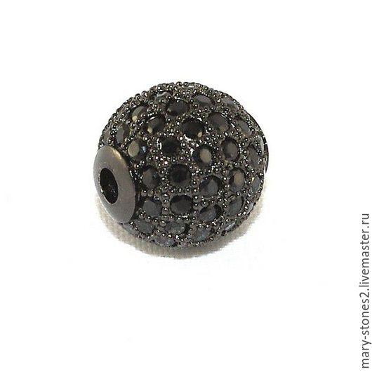 Для украшений ручной работы. Ярмарка Мастеров - ручная работа. Купить Бусина шар 12мм с черными фианитами черная (Milano). Handmade.