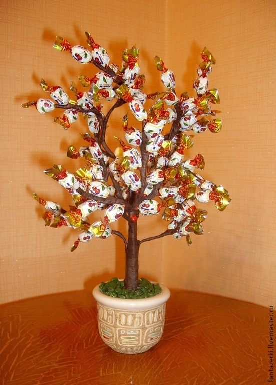 Дерево из конфет своими руками мастер класс 65