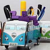 Канцелярские товары handmade. Livemaster - original item Desktop organizer VW Camper (blue). Handmade.