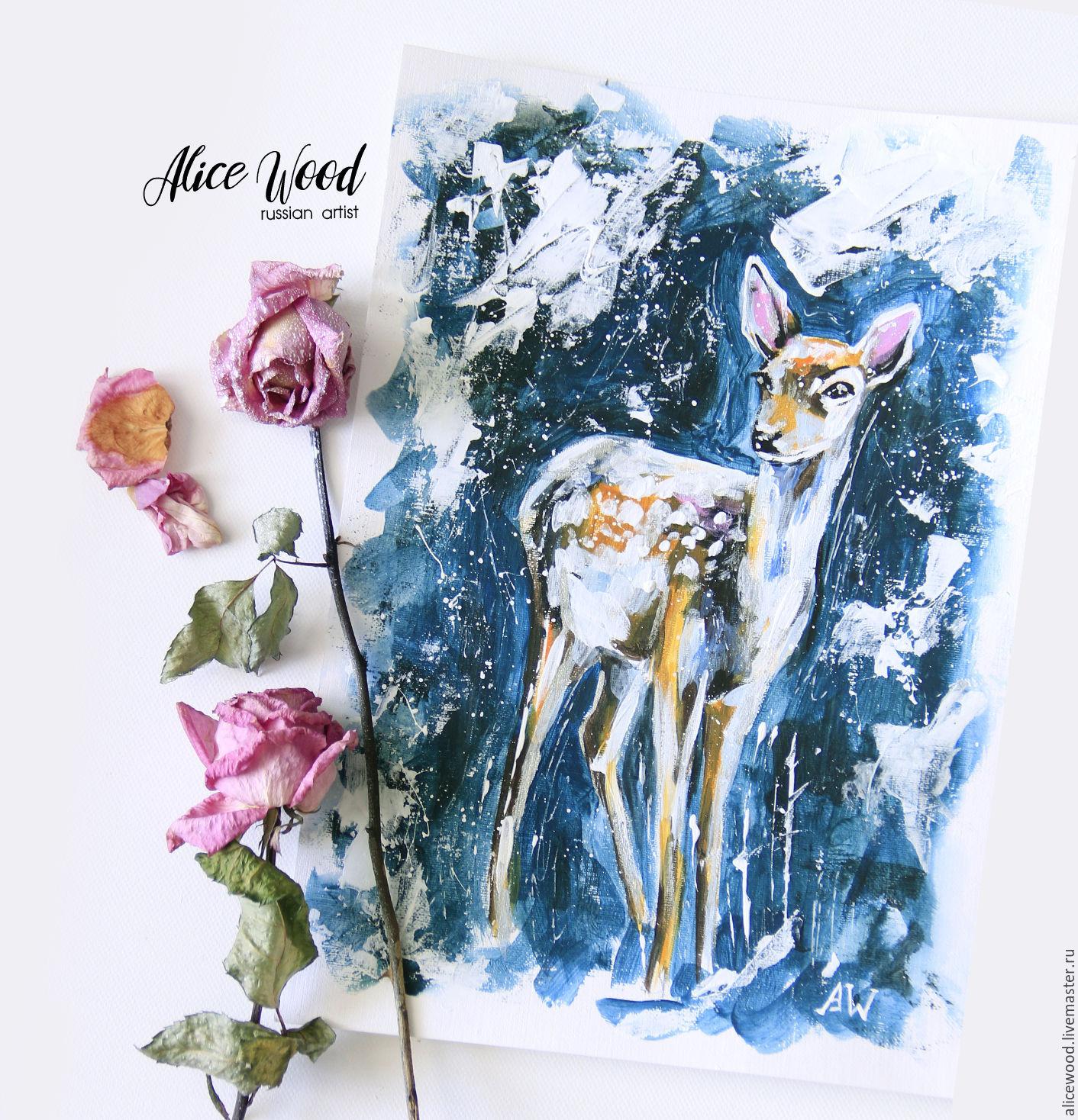 Картинки оленя в лесу зимой