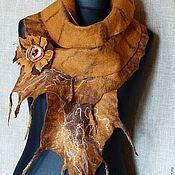 Аксессуары handmade. Livemaster - original item Autumn gold - Felted scarf. Handmade.
