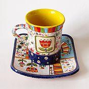 """Посуда ручной работы. Ярмарка Мастеров - ручная работа Именная керамический набор""""Виктория"""". Handmade."""