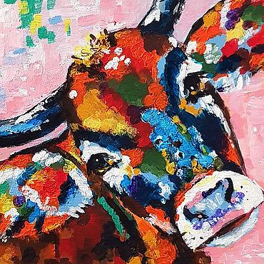 Картины и панно ручной работы. Ярмарка Мастеров - ручная работа Яркая картина коровка. Handmade.