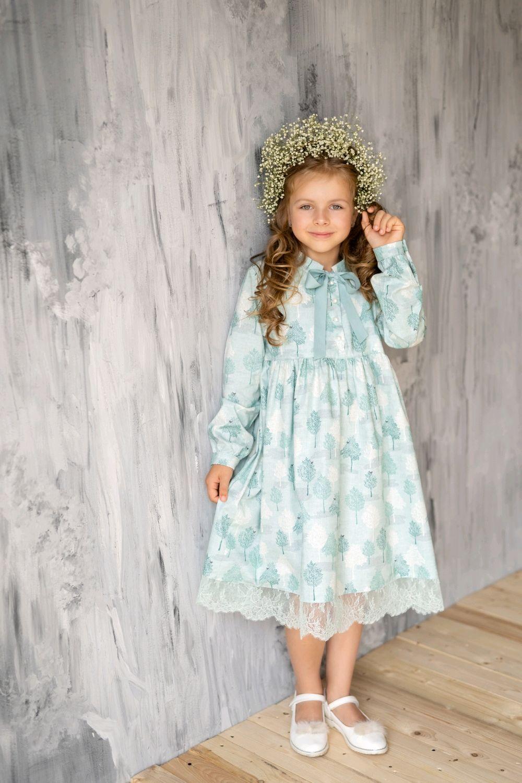 Платье из нежного 100% хлопка с кружевом на девочку р.134, Одежда для девочек, Саратов, Фото №1