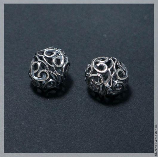 Для украшений ручной работы. Ярмарка Мастеров - ручная работа. Купить Бусина Узоры  серебро 925 пробы с чернением. Handmade.