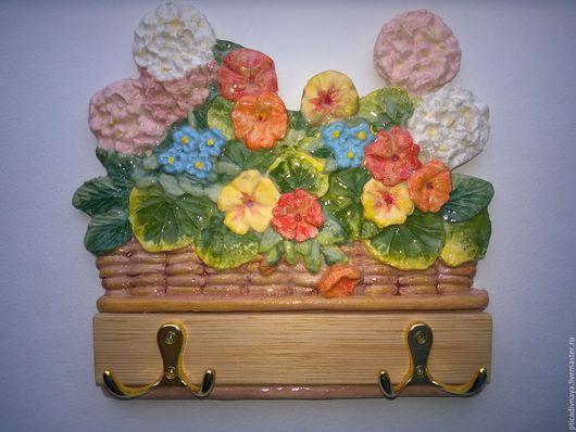 """Прихожая ручной работы. Ярмарка Мастеров - ручная работа. Купить Вешалка для ключей """" Корзинка с цветами"""". Handmade. Комбинированный"""