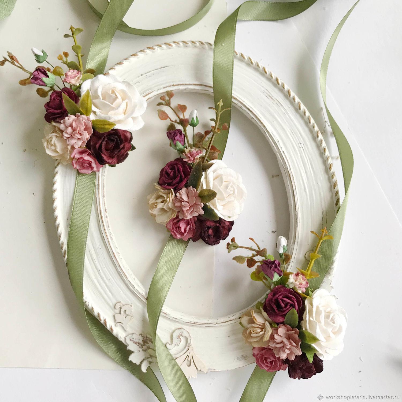 Браслет для подружек невесты с бордовыми цветами, Браслеты, Санкт-Петербург,  Фото №1