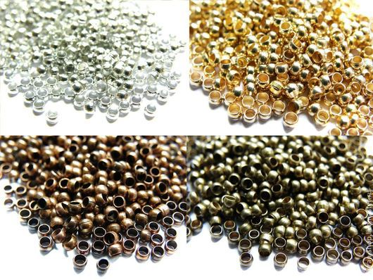 Для украшений ручной работы. Ярмарка Мастеров - ручная работа. Купить Кримпы обжимные 1гр, серебро, никель,золото, медь, бронза. Handmade.