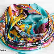 """Натуральный шелковый платок из ткани Hermes """"Jardins d'Hiver"""