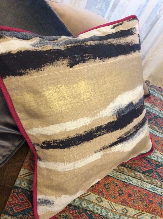 Текстиль, ковры ручной работы. Ярмарка Мастеров - ручная работа. Купить Подушка двусторонняя льняная. Handmade. Комбинированный, розовый