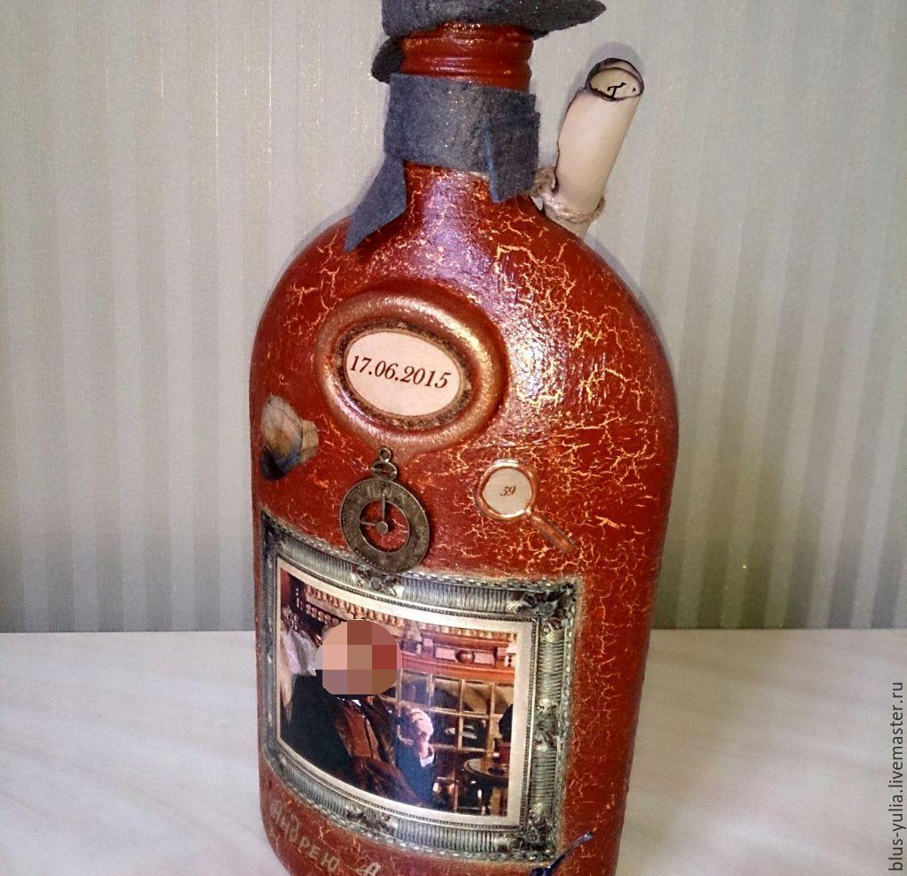 Декупаж бутылок мужчине в подарок