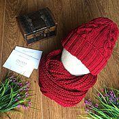 Аксессуары ручной работы. Ярмарка Мастеров - ручная работа Вязаный комплект шапка-снуд. Handmade.