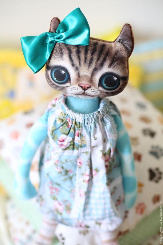 """Игрушки животные, ручной работы. Ярмарка Мастеров - ручная работа. Купить Кошка """"Тифани"""". Handmade. Бирюзовый, игрушка для детей"""