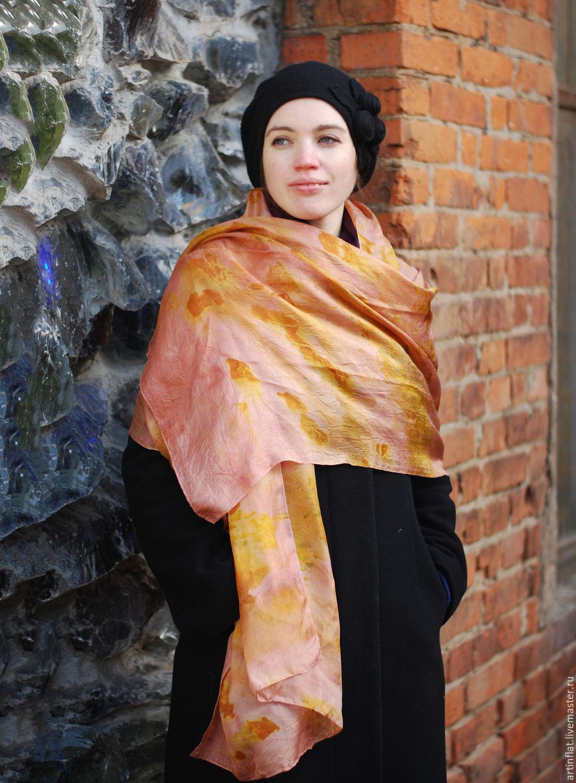 Scarf silk 'Cream' eco print pink elegant, Scarves, Moscow,  Фото №1