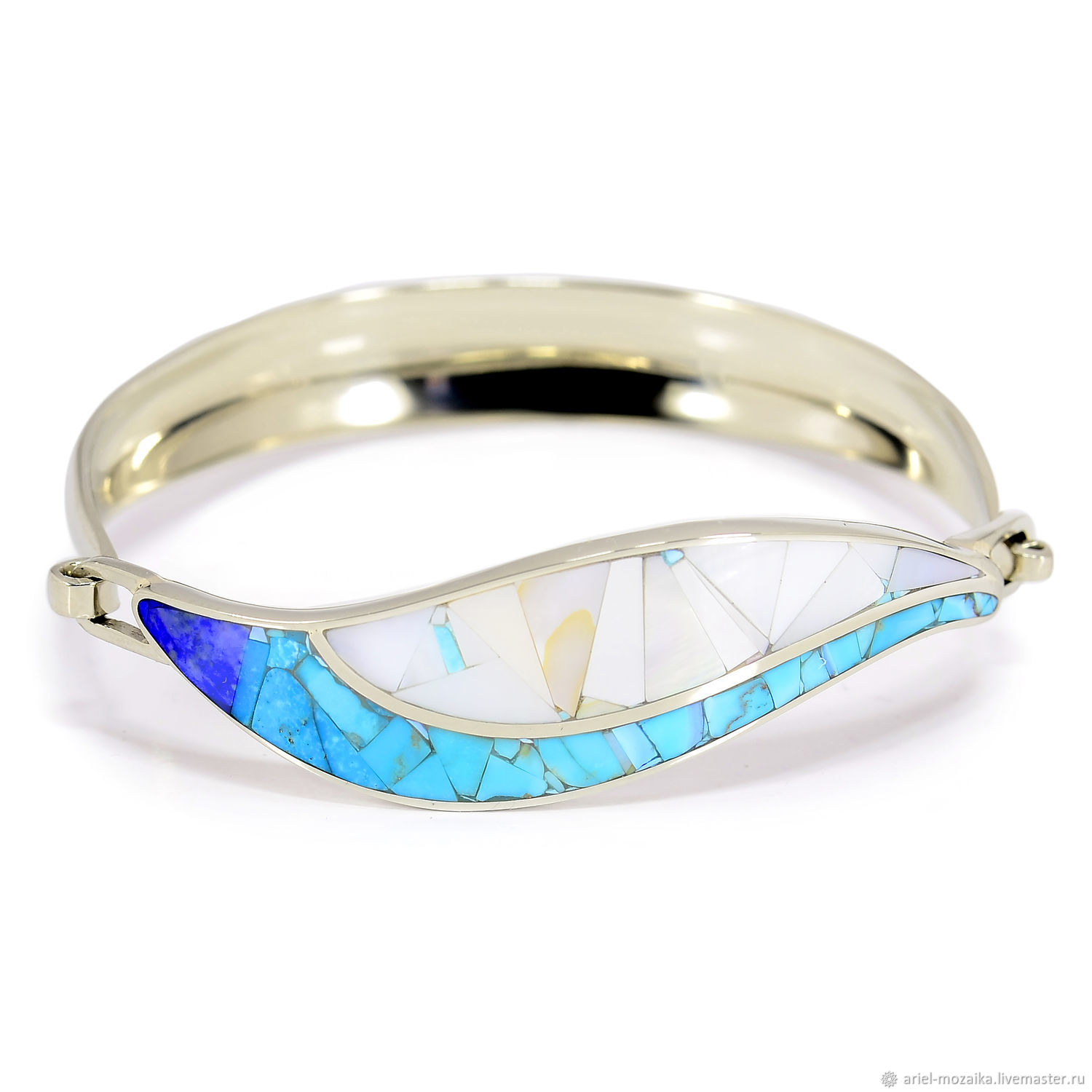 BRACELET with Turquoise, mother of Pearl, lapis Lazuli. Bracelet a copyrighted work, Hard bracelet, Moscow,  Фото №1