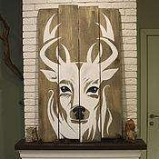 Панно ручной работы. Ярмарка Мастеров - ручная работа Панно олень на досках, большое. Handmade.