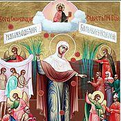 Картины и панно handmade. Livemaster - original item Joy of all who sorrow with groshiki.The Icon Of The Virgin. Handmade.